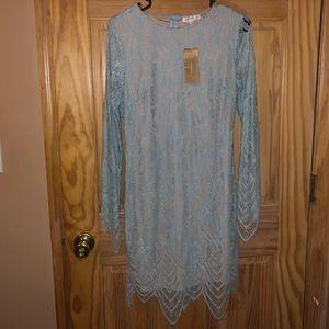 NWT Francesca's Blue Lace Love Fire sleeve dress